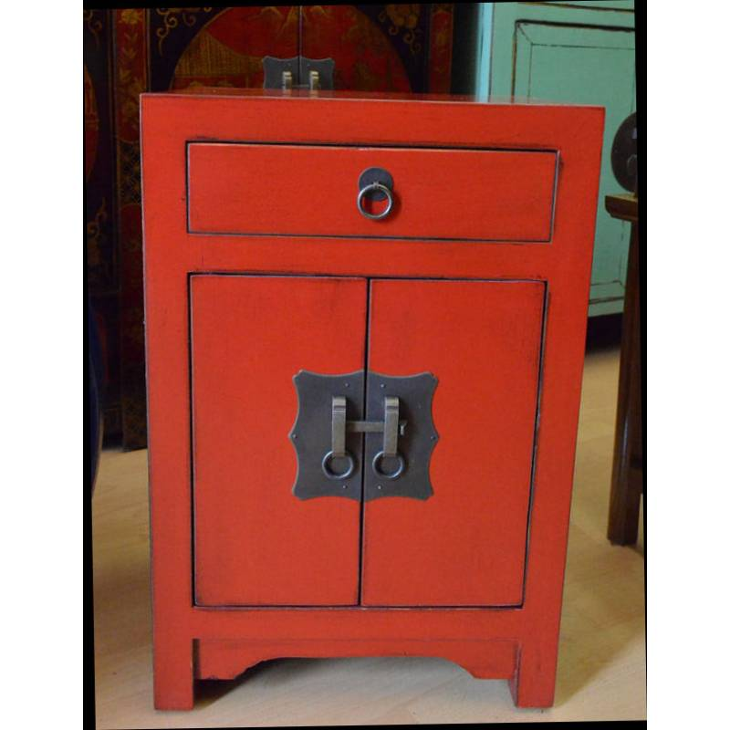 petit meuble chinois laque noir rouge
