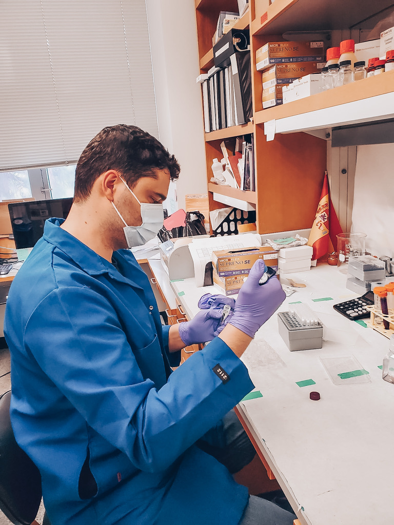 Photo of Dr. Lopez working in his lab at UCLA where he found a link with hospitalization and Autism risk in boys.