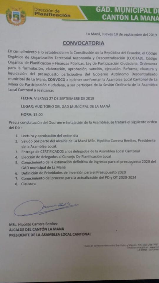 Elección de delegados al consejo de participación local