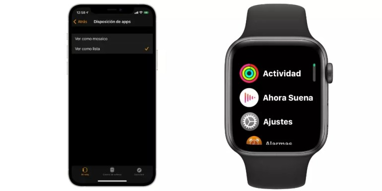 From iPhone see Apple Watch apps menu as list