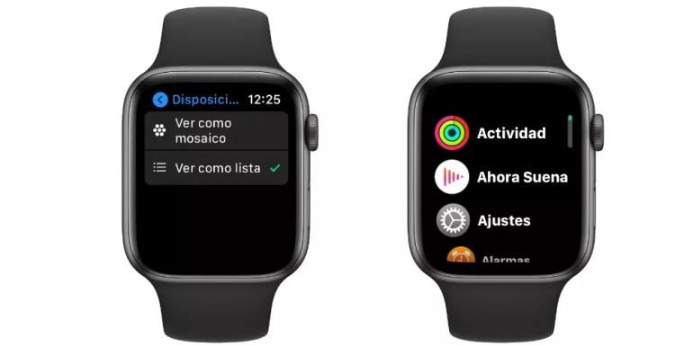 View Apple Watch apps menu as list