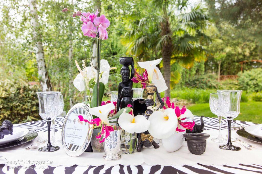 Décoration de table de mariage safari Afrique