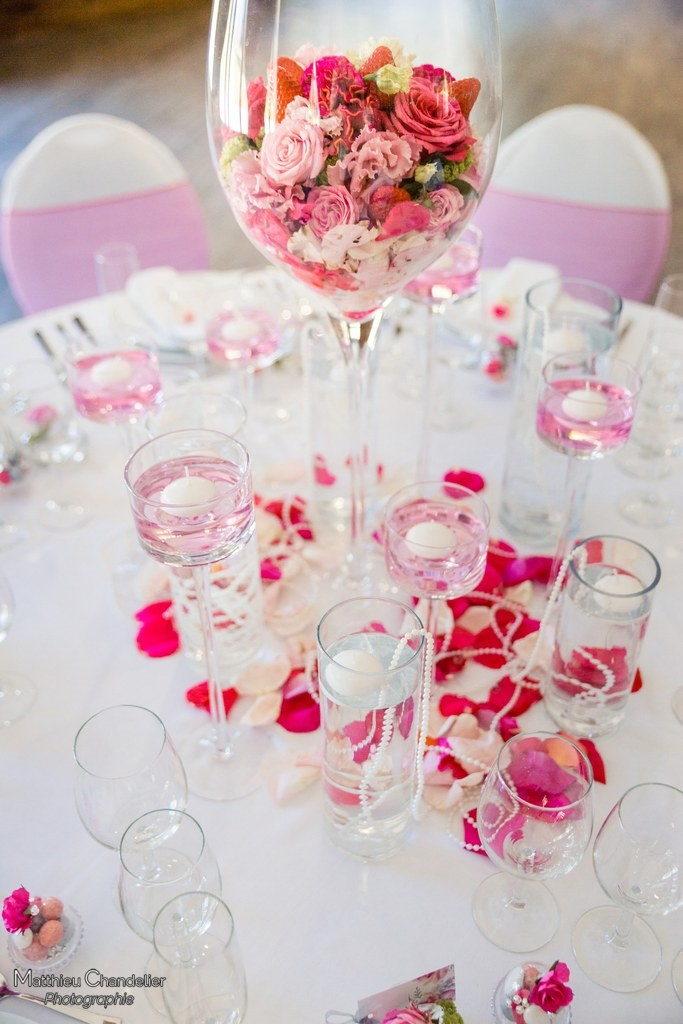 Décoration de table rose