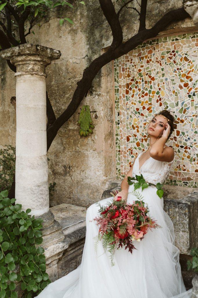 Robe de mariée travaillée