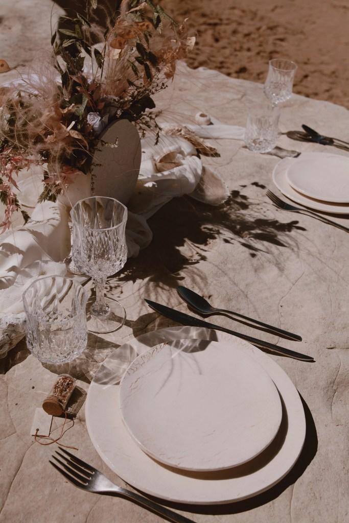 décoration de table couleur beige