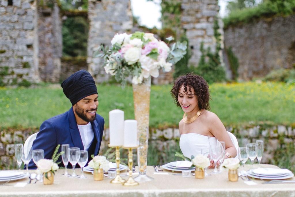 repas de mariage blanc et doré