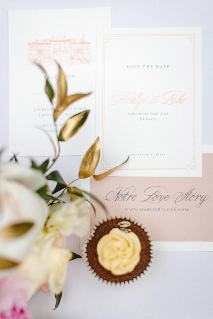faire part mariage rose et blanc
