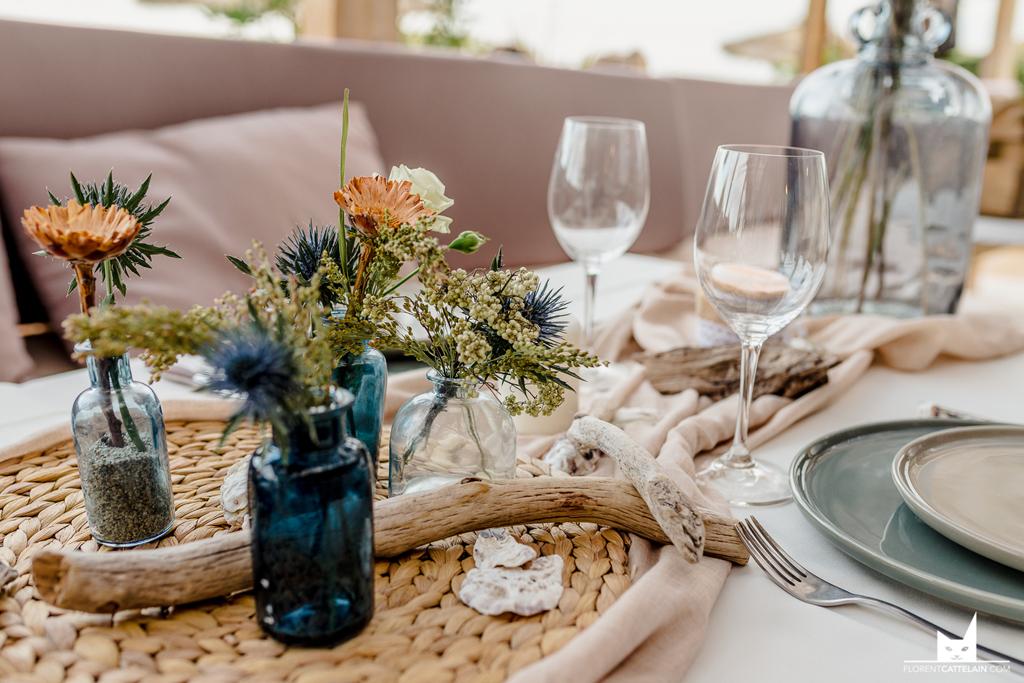 Décoration de table fleurs séchées