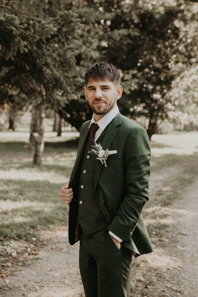 Atelier Coqlico costume sur-mesure vert émeraude
