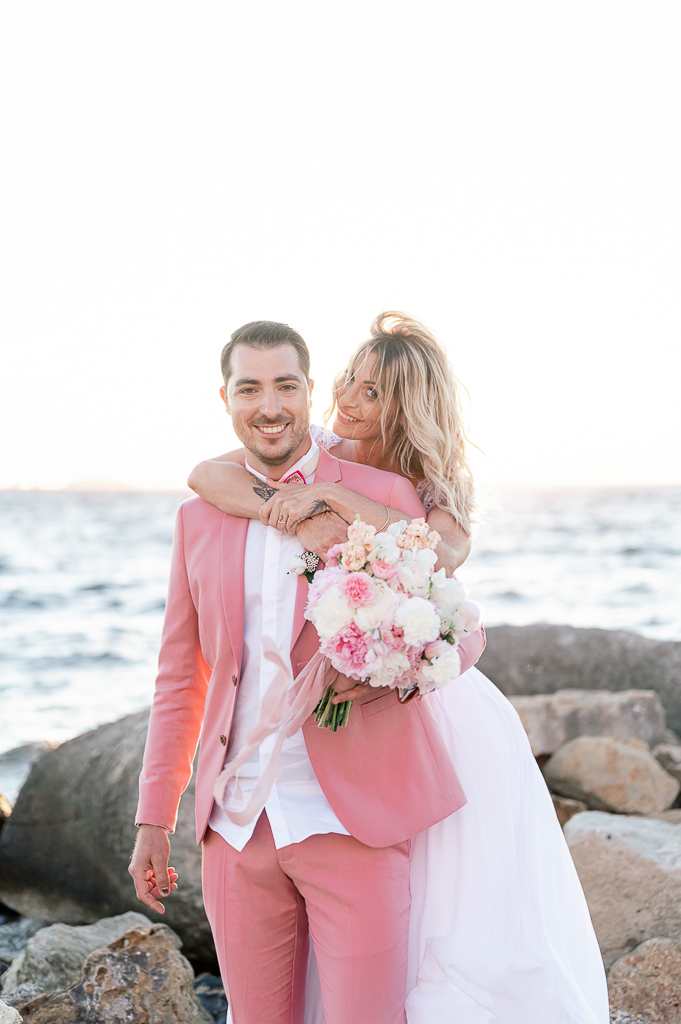 Mariage en rose et blanc