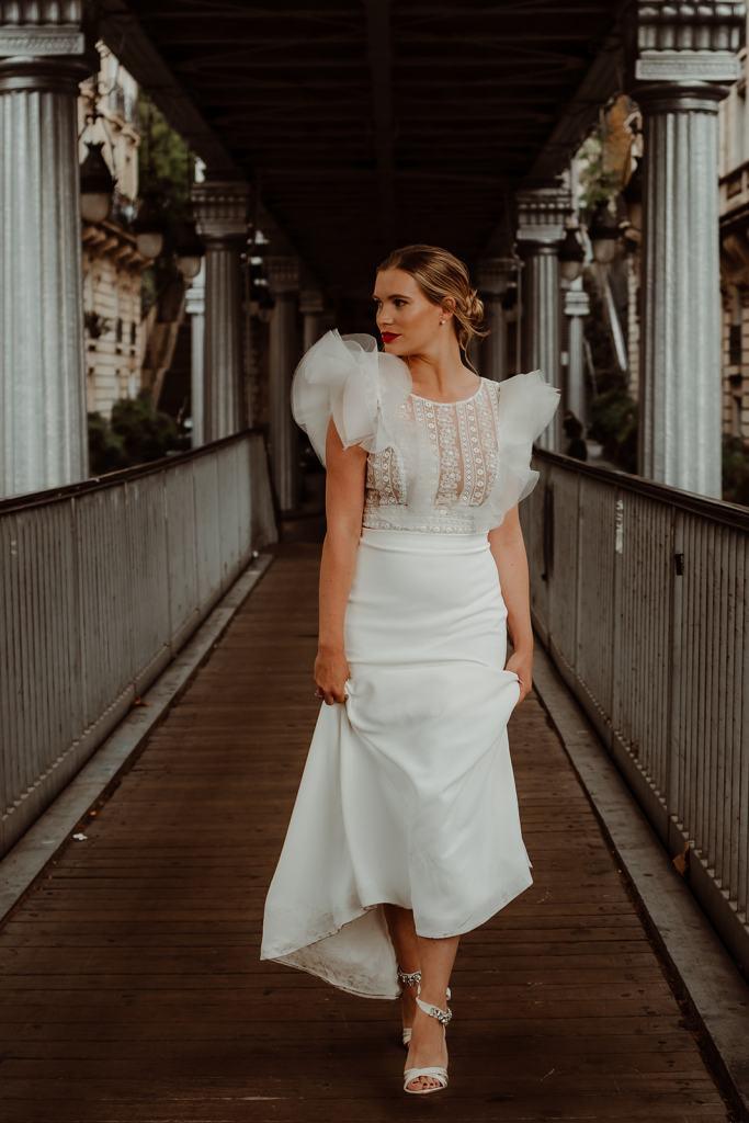 robe de mariée deux pièces manches bouffantes
