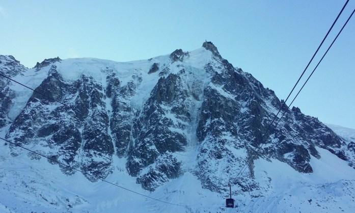 Hiver à Chamonix Mont Blanc - le téléphérique de l'Aiguille du midi