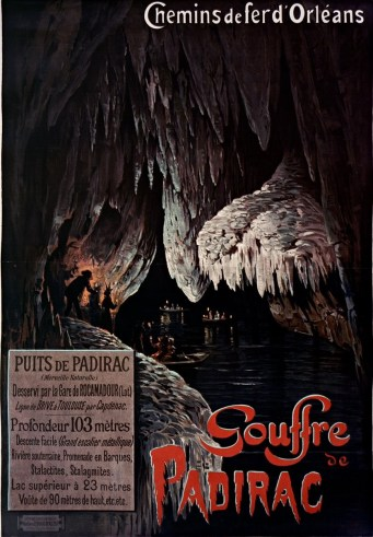 Padirac - affiche ancienne de la Grande Pendeloque