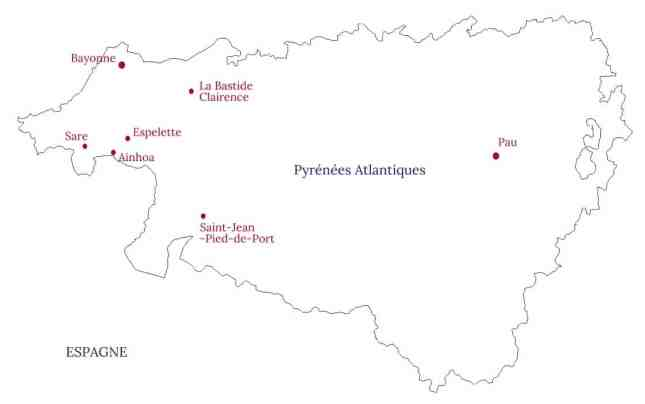 Carte des plus jolis villages du Pays basque