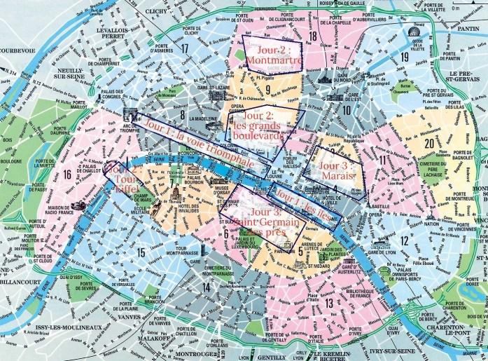 Plan des incontournables à Paris