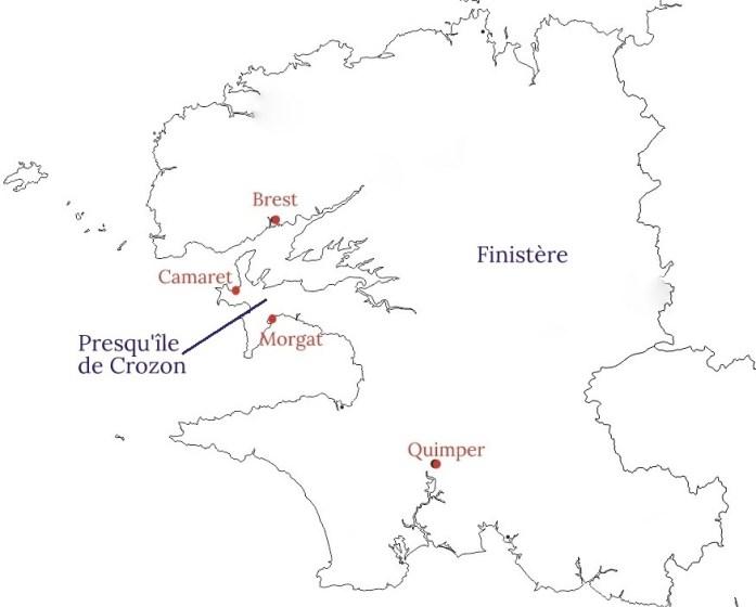 Carte de la presqu'île de Crozon
