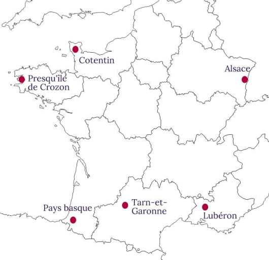 Carte de France des destinations où partir cet été en vacances