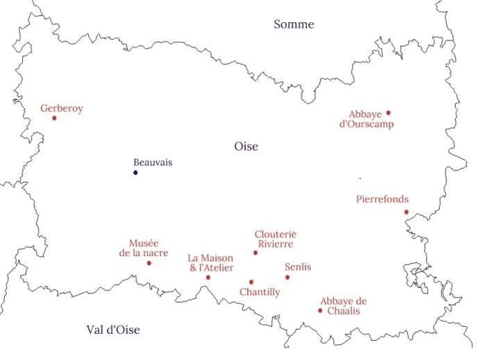 Carte de l'Oise - Blog La Marinière en Voyage