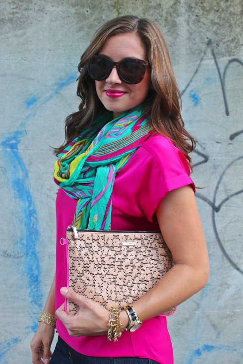 La Mariposa: Palm Springs Turquoise & Pink scarf