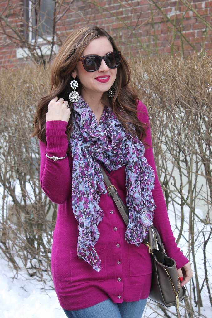 La Mariposa: Magenta Sweater with Cool-toned scarf
