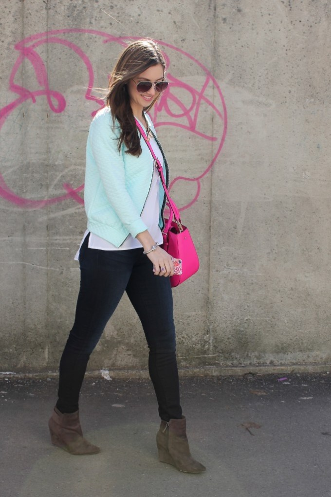 Mint Quilted bomber, White top & Hot pink purse