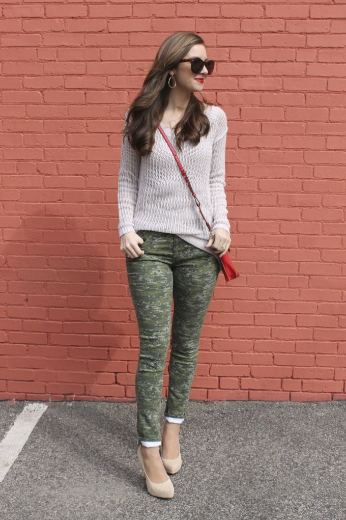 Camo Pants with Open Knit Camel Sweater