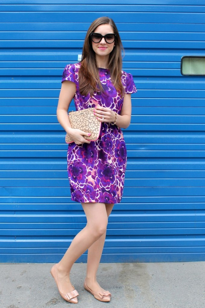 Purple floral shift with bow details