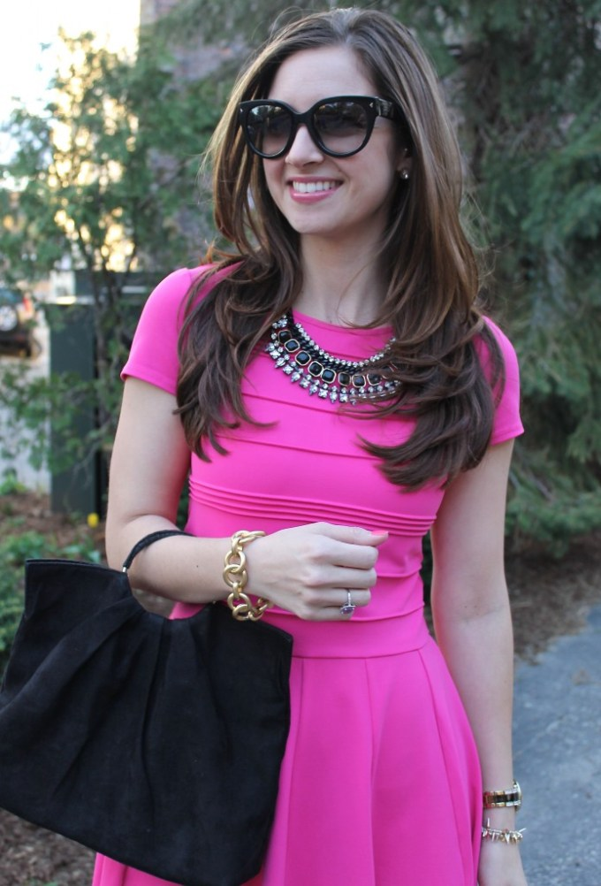 Pink Day Dress with Edgy Black Details