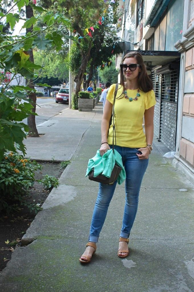 Yellow Zara Blouse, Mint JCrew Cardigan, 7FAM Jeans