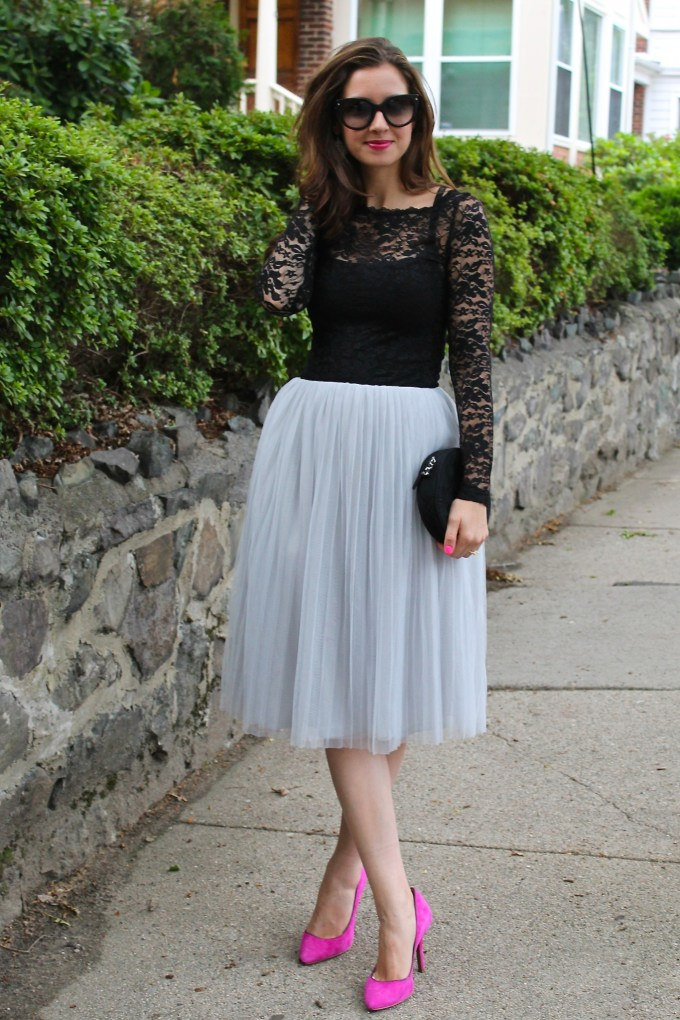 Romantic Look: Black Lace & Grey Tulle Skirt