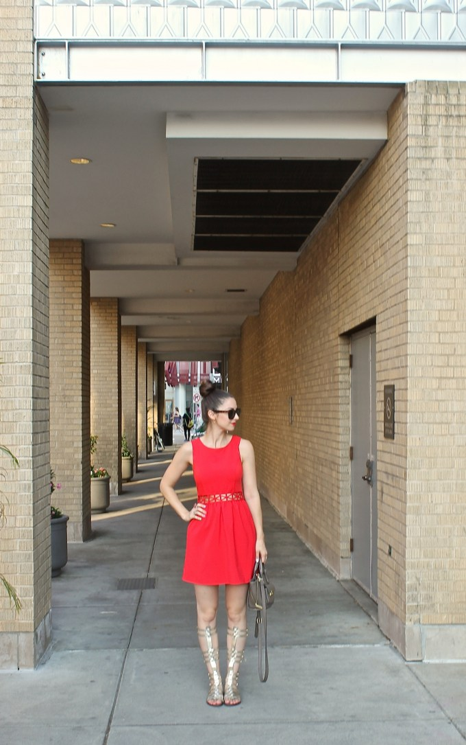 Little Red Dress & Gold Gladiators