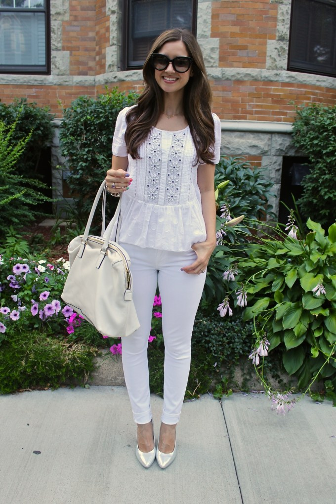 Boho Beaded Anthrpologie Top with 7FAM Jeans and Silver H&M Heels