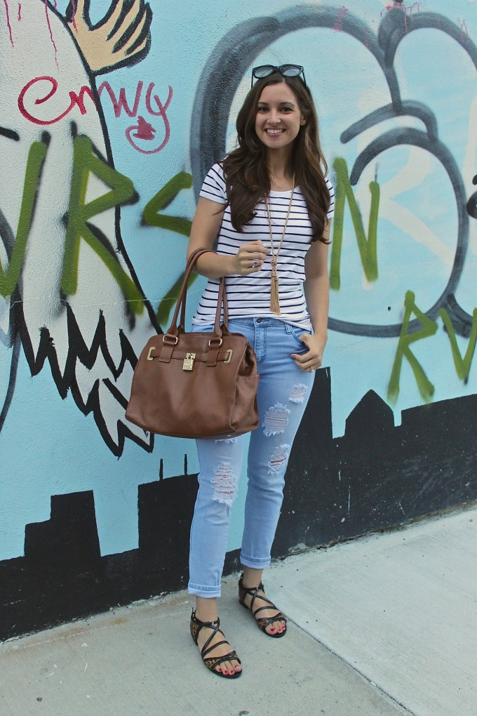 Casual Days: Stripes, Ripped Jeans & Leopard Strappy Sandals