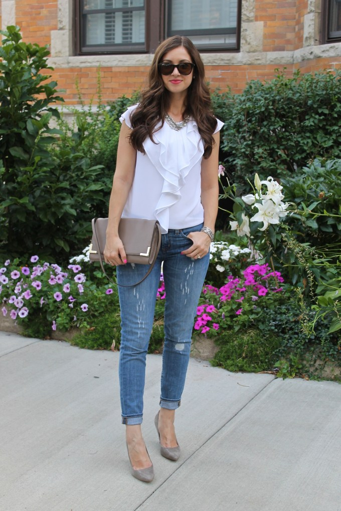Ruffle Blouse with Ripped Jeans & Grey accessories