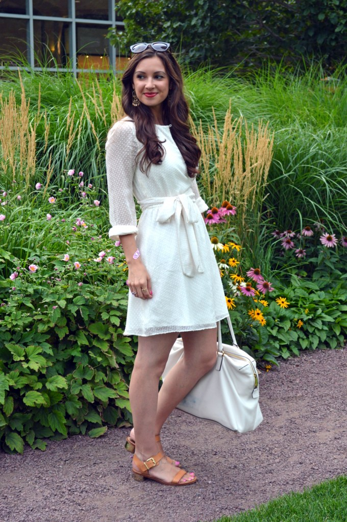 White Summer Wrap Dress with Gold chandelier earrings