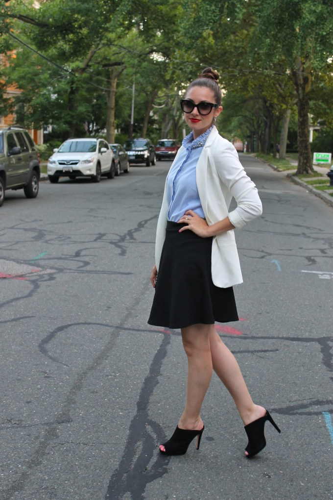 Business Casual: White Blazer, embellished Chambray with Black High-waisted skirt and mules