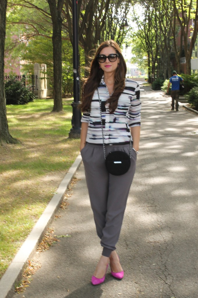 Casual Work Wear: Button-down & Joggers
