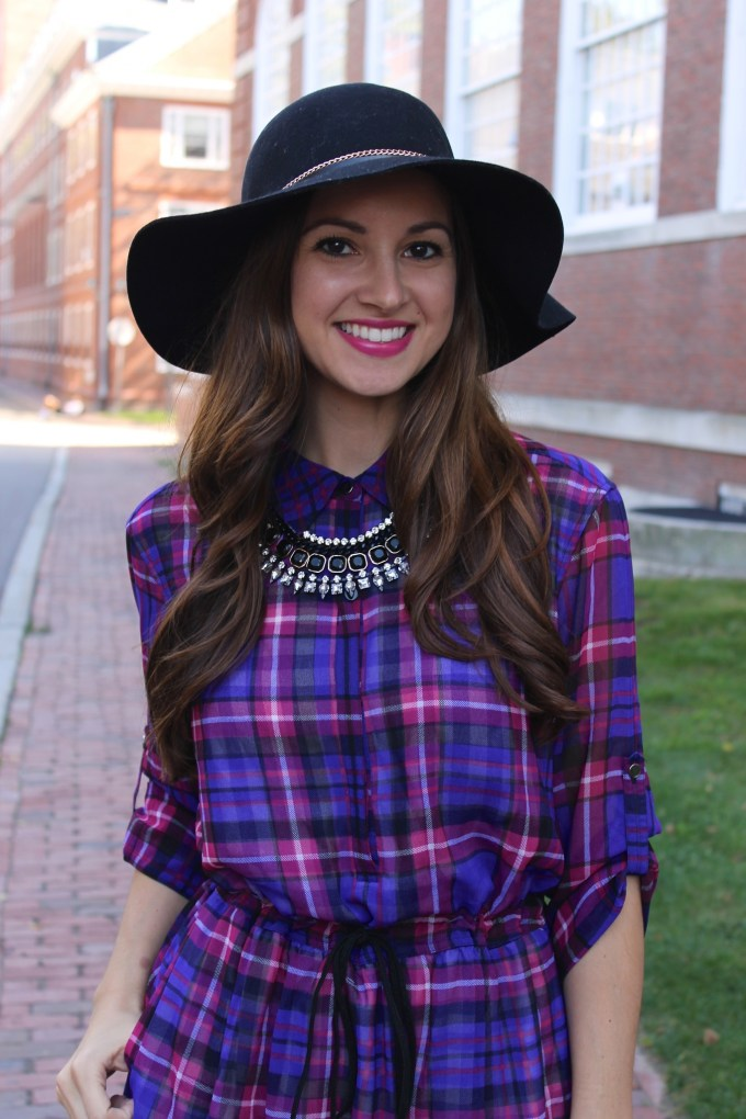 Purple and Pink Plaid Shirt Dress with Edge Booties and Floppy Hat
