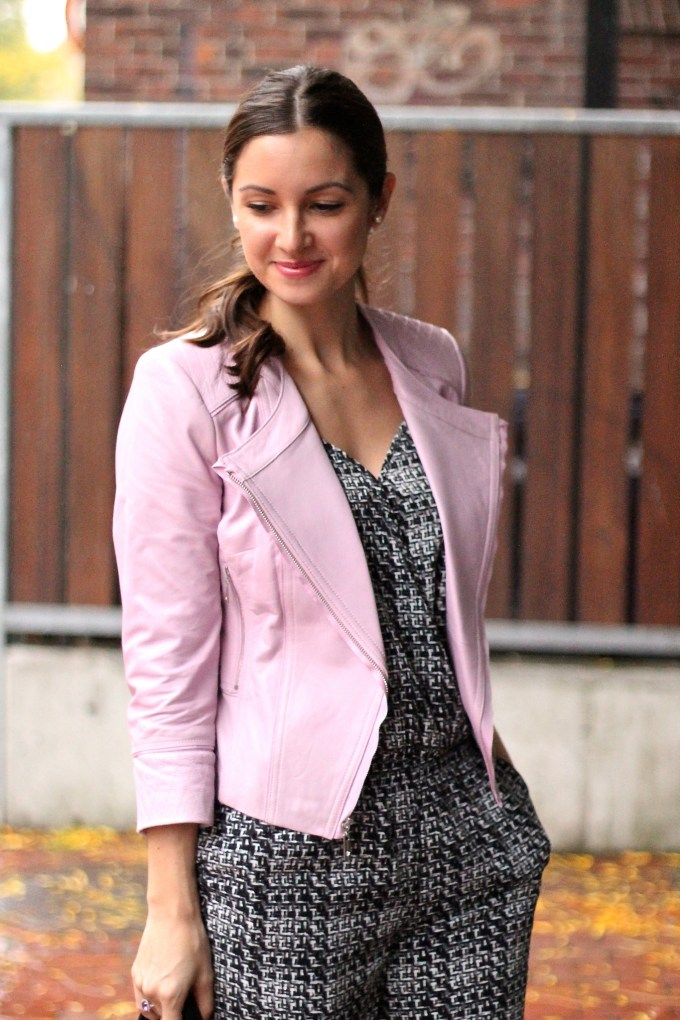 Black & White Jumpsuit & Baby Pink Leather Jacket