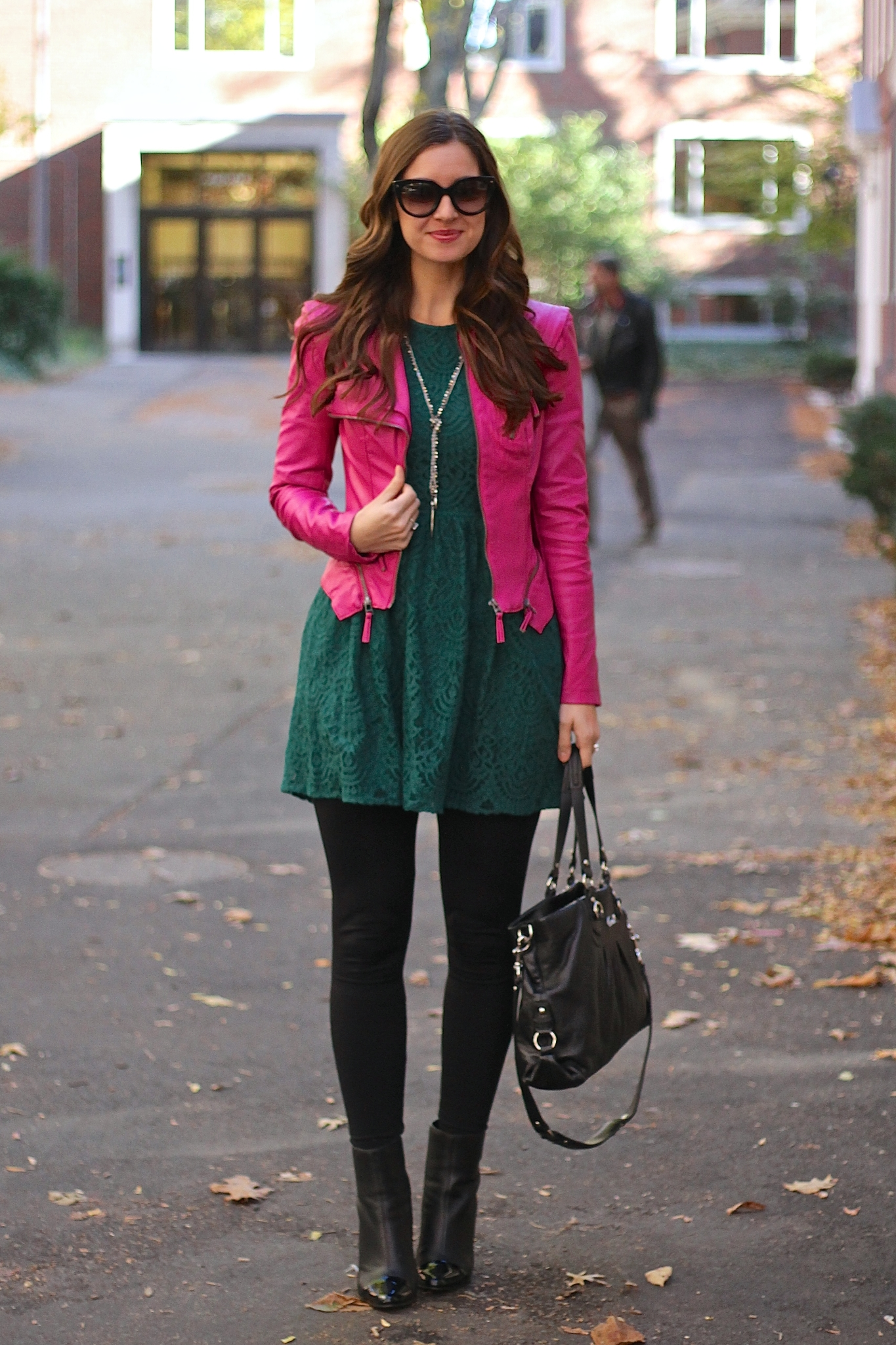 Emerald Lace Fit Flare Dress With Hot Pink Leather Jacket