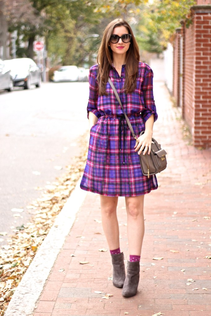 Pink and Purple Plaid Dress