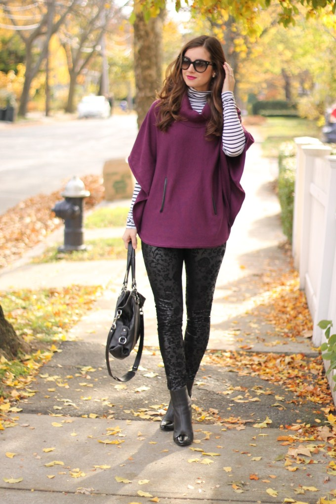 Plum Poncho with Velvet/Coated floral pants