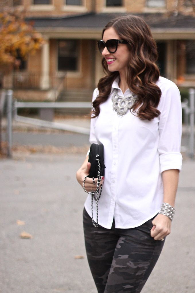 White Blouse & Silver Statement Necklace