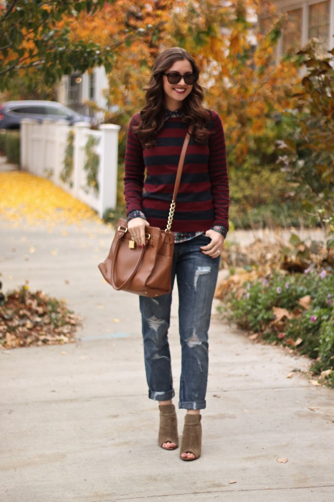 Tom-Boy: Burgundy and Navy striped sweater, plaid button-up, ripped boyfriend jeans
