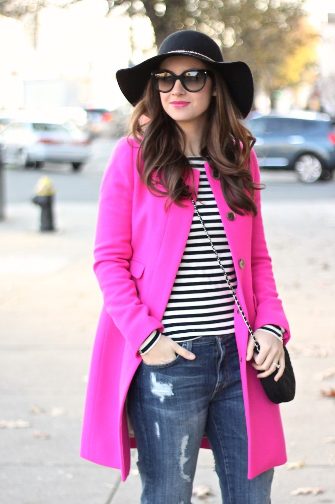 Floppy Hat, Stripes and Hot Pink Jacket
