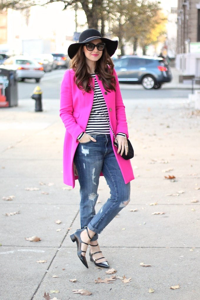 Hot Pink Jacket with Ripped Boyfriend Jeans, Strappy Pointy Flats and Floppy Black Felt Hat