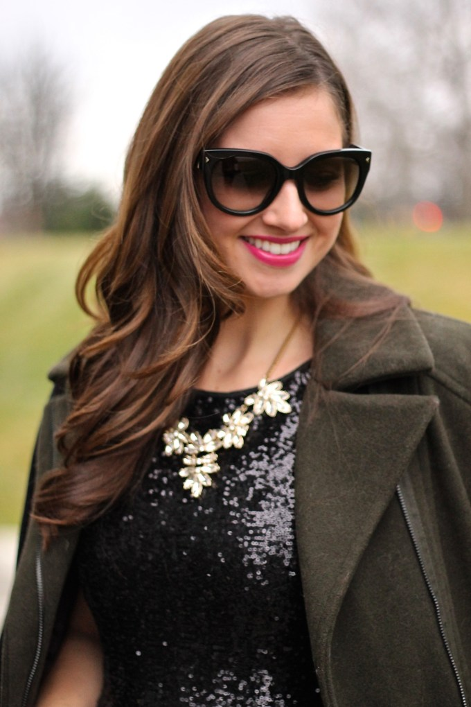 Two-Toned Olive and Black Jacket and Sequin LBD