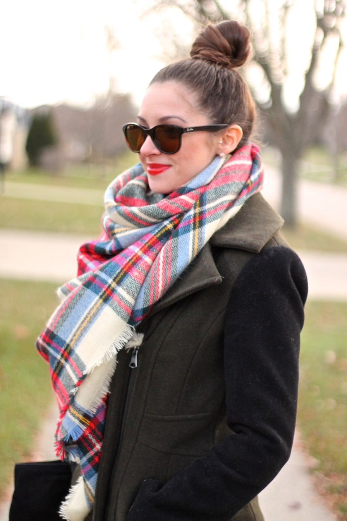 Winter Layers: Plaid Scarf, Olive/Black Two-Toned Jacket, Leopard Flats