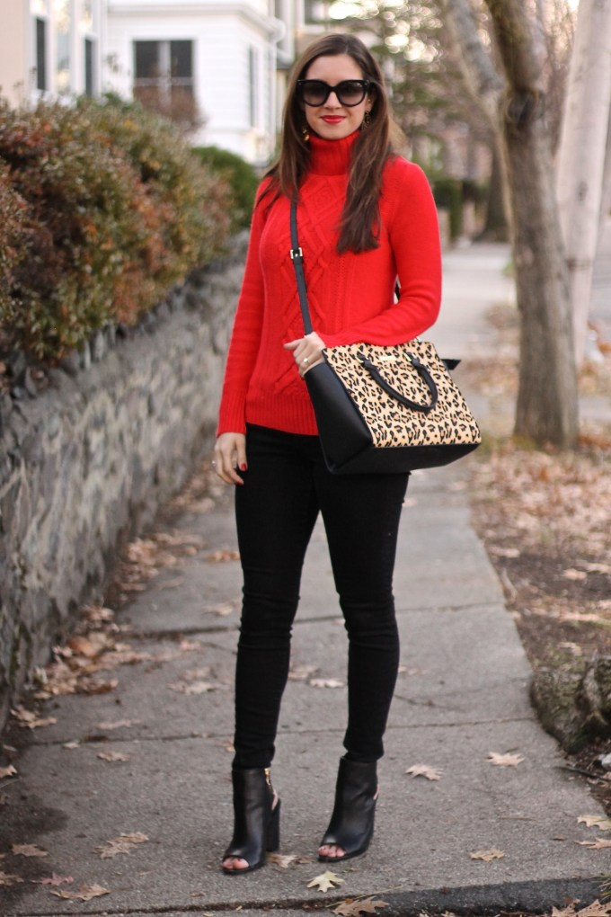Red Cableknit Sweater & Leopard Purse
