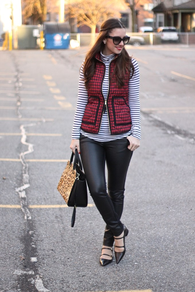 Black, Red & White: Checkered Vest and Stripes with a Leopard Bag